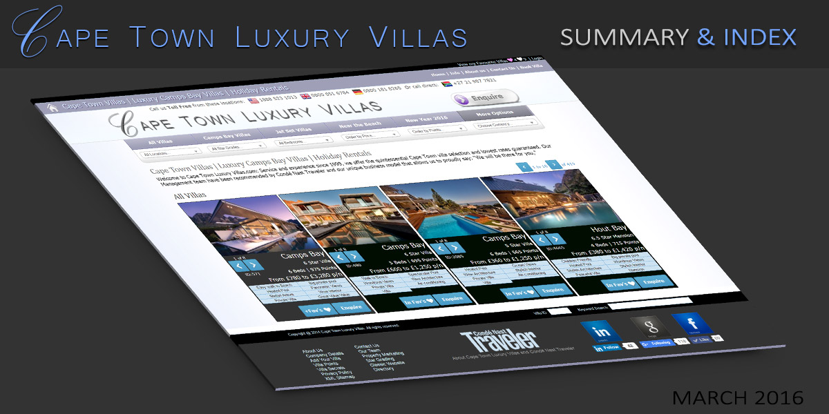 Cape Town Luxury Villas – Index and Summary - Cape Town Villas & African Safaris Blog