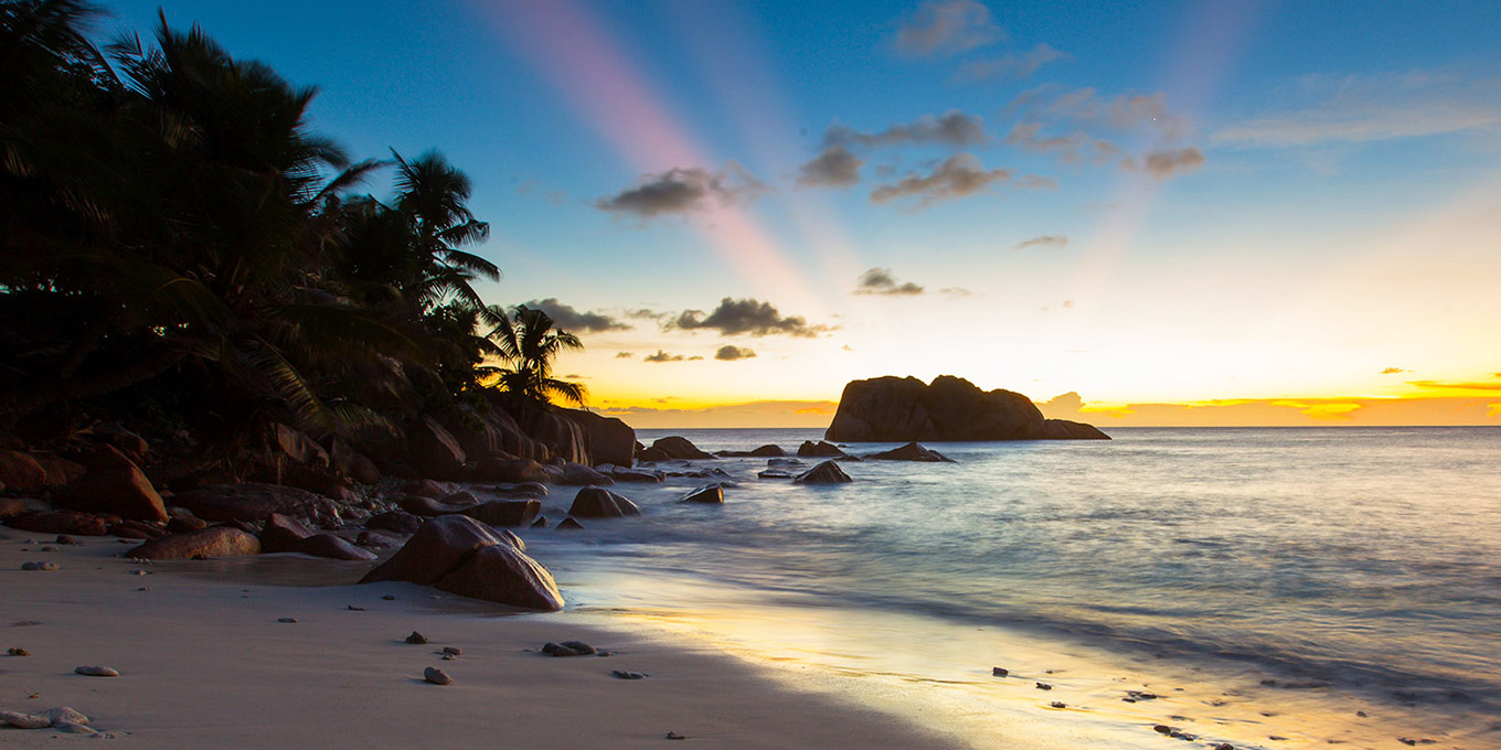 Phenomenal Sunset by the Sea in Cousine Island in Seychelles