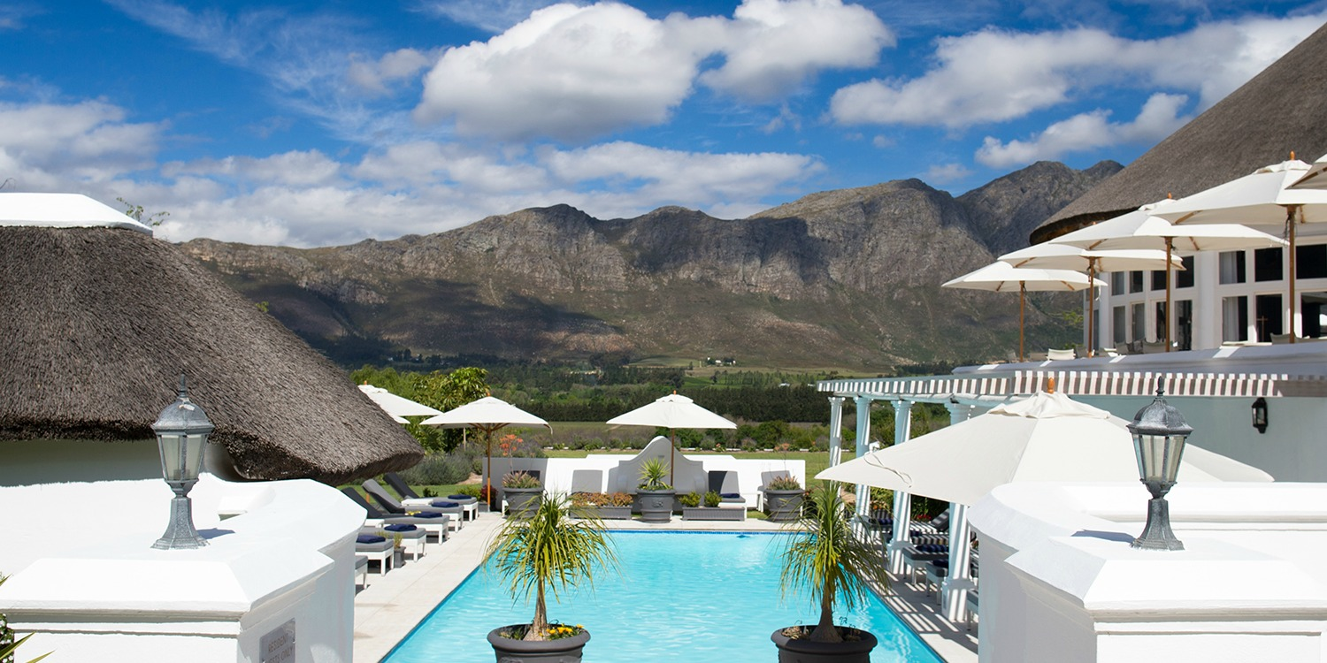 Outdoor Pool with a beautiful view of the Franschhoek Mountains