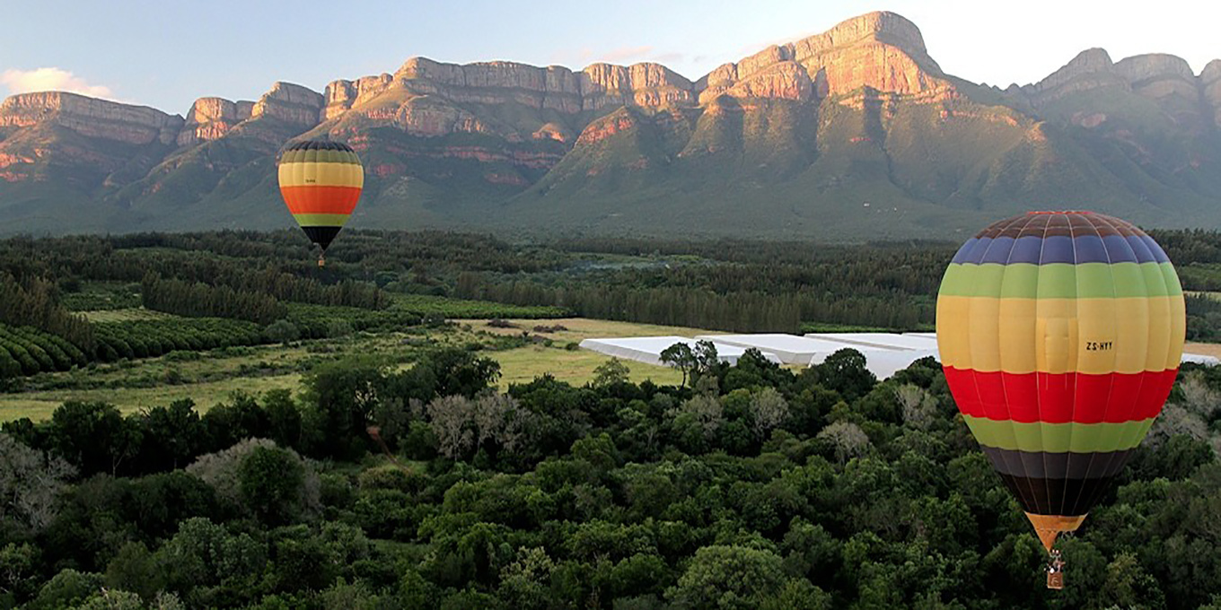 Hot Air Balloon near the foot of the Drakensberg Escarpment